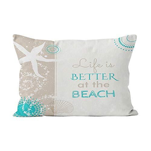 Decorative Cushion Design - Suklly Hot Lumbar Life is Better at The Beach Hidden Zipper Home Decorative Rectangle Throw Pillow Cover Cushion Case 12x24 Inch One Side Design Printed Pillowcase