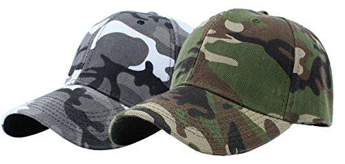 p-hop Sports Trucker Hat Camouflage Adjustable Baseball Cap (White+Green) (Hip Hop Trucker Hats)