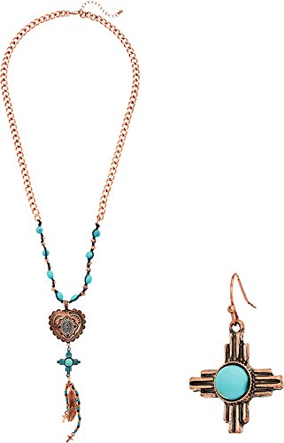 Pendant Earrings Necklace Western Heart - M&F Western Women's Copper Heart and Turquoise Necklace/Earrings Set Copper One Size