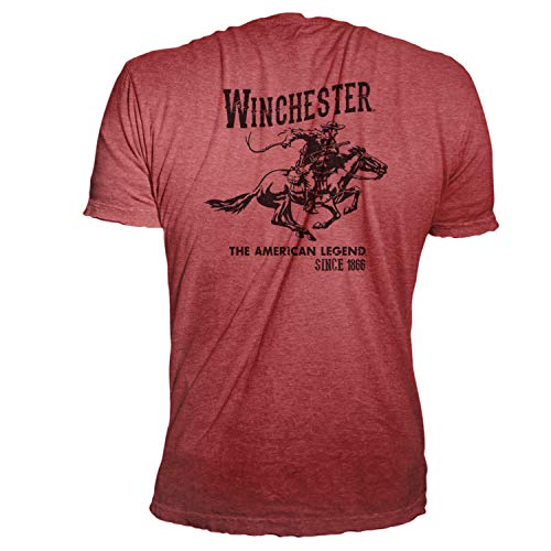 (Winchester Official Men's Vintage Rider Graphic Printed Short Sleeve Cotton T-Shirt (Medium, Heather Red))