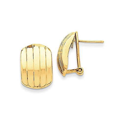 14k Gold Polished Ribbed Omega Back Post Earrings (0.67 in x 0.47 in)