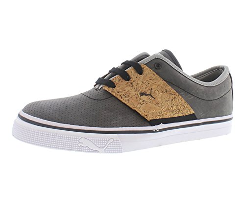 PUMA Men's EL Ace Leather Handcrafted Classic Sneaker,Black/Limestone Gray,10.5 M US