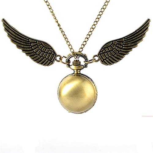 BIANGFEI Antique Golden Angel Wing Quartz Pocket Watch Charming Vintage Men Women