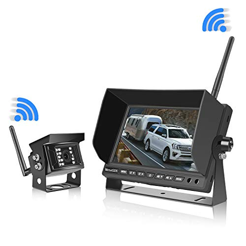 Wireless Backup Camera for Trucks RVs, Two Methods Wiring for Reversing/Constantly View, 7