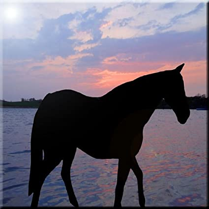 6 x 6 Rikki Knight Horse Silhouette on Sunset Lake Design Ceramic Art Tile