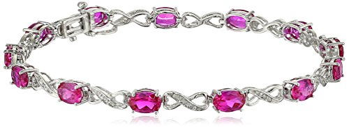 Sterling Silver Created Ruby and Diamond Infinity Bracelet (1/10 cttw, I-J Color, I2-I3 Clarity), 7.25