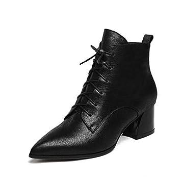 HAOLIEQUAN Botas De Mujer Botines Cuadrados De Tacón Alto Todo El Partido Plataforma Cremallera Botas De Invierno Zapatos De Mujer Botas De Mujer Tamaño ...