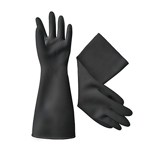 Katoot@ 40cm white/Black gloves latex working Midoni waterproof non-slip arbeitshandschuhe upset longer latex work gloves (Black) by Katoot