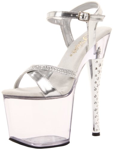 Pleaser - Sandalias mujer, color Plata, talla 40 (7 UK)
