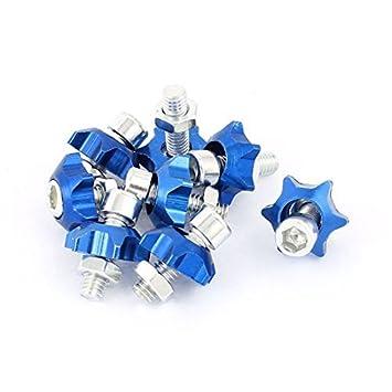 eDealMax 8pcs de Placas Forma de Estrella Tornillos Pasador Hexagonal decoración Azul