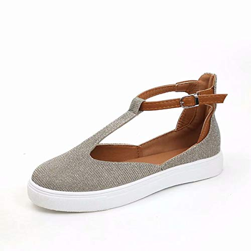 DaMaiZhang Summer Fashion Flat Sandals for Women Buckle Strap Soft Sandal Cut Out Walking Casual Shoe Grey from DaMaiZhang
