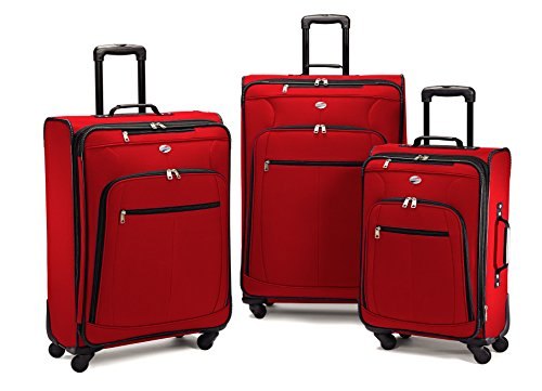 American Tourister 64590 AT Pop Plus Suitcase, 3 Piece Set (One Size, Red)