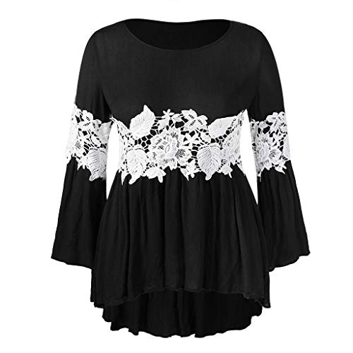Nevera Fashion Women Plus Size Flare Sleeve Floral Lace Appliques Panel Ruched Top ()