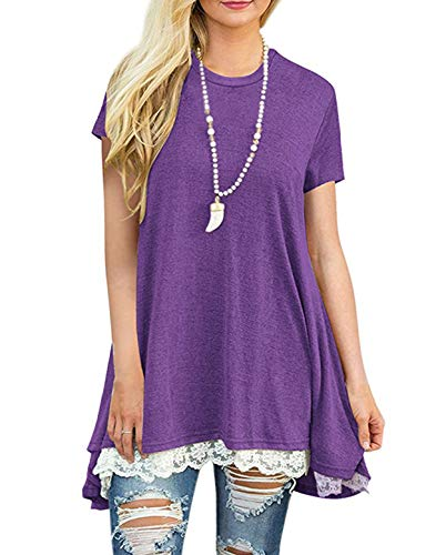 Women's Lace Tunic Top Sweatshirt Short Sleeve Blouse A-Line Flowy T-Shirt Dress Purple S