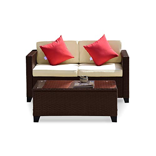 Wilcum Patio Loveseat Wicker Rattan Outdoor Loveseat Furniture Outdoor Bench Modern Indoor Outdoor Sofa Patio Furniture Sets Cushioned Chair, Brown Rattan with Beige Cushions