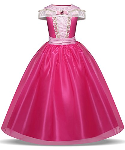 LENSEN Tech Girls Princess Aurora Costume Drop Shoulder Halloween Party Long Dress (Hot Pink, 5-6 -