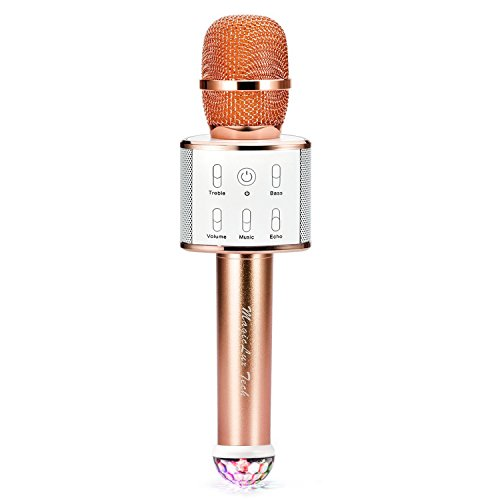 Handheld Microphone, Bluetooth Dual Speakers Mic, Support U Disk Playing Music, Reverberation KTV Machine with Stage Light, for Music Playing Singing at Home KTV Party Travel Outdoor(Champagne Gold)