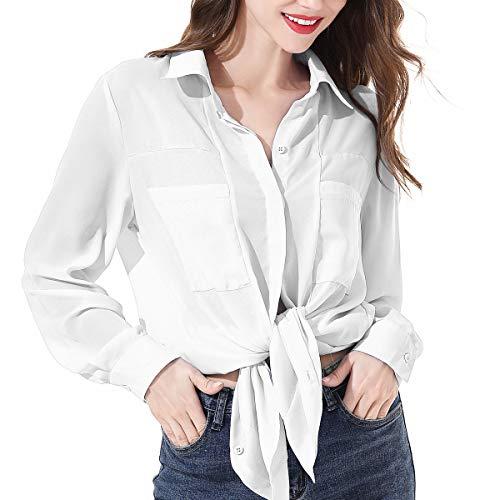 OMSJ Women Button Down Shirts Long Sleeve Chiffon Office Casual Blouses (XL, - Long Sleeve Chiffon Blouse