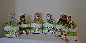 Set Of 6 Jungle Safari Diaper Cake Baby Shower Centerpieces   Elephant,  Zebra, Tiger