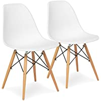 Best Choice Products Set of (2) Eames Style Dining Chair Mid Century Modern Molded Plastic Shell Arm Chair