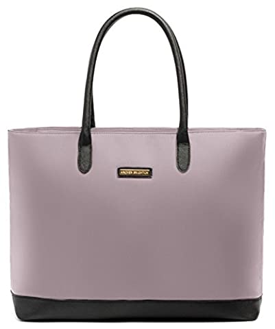Archer Brighton Isabel Women's Laptop & Tablet Zip Tote, Women's 15.6 & 17 Inch Business Computer Briefcase Bag with Crossbody, Leather Canvas Organizer Handbag Purse for Work, Travel - Pink Laptop Tote