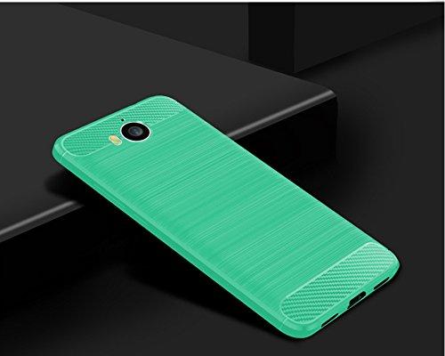 Funda Huawei Y5 2017,Funda Fibra de carbono Alta Calidad Anti-Rasguño y Resistente Huellas Dactilares Totalmente Protectora Caso de Cuero Cover Case Adecuado para el Huawei Y5 2017 E