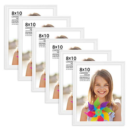 Langdons 8x10 Picture Frames (6 Pack, White) White Picture Frame Set, Wall Mount or Table Top, Set of 6 Prosperity Collection