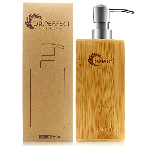 DR.PERFECT Soap Dispenser with Bamboo Material Stainless Steel Spray Head Volume 10.25OZ for Bathroom Accessories and Various Liquids