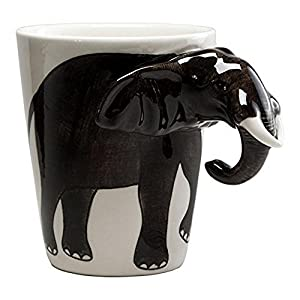 Ceramic Life-Like Elephant Mug with Elephant Trunk Handle
