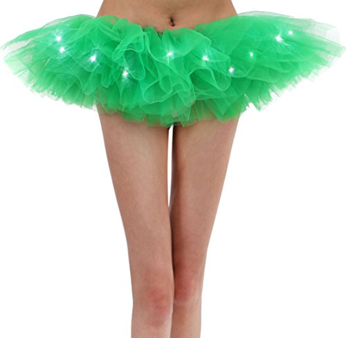 Women's Vintage Classic 5 Layered LED Light Up Tutu Skirt, Green -