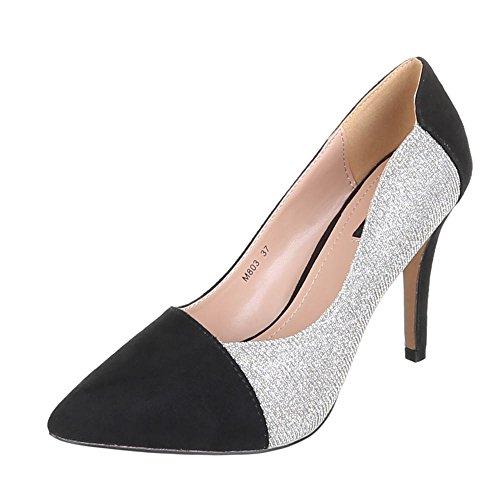 Ital-Design - Zapatos de vestir de Material Sintético para mujer Plateado - Silber Schwarz