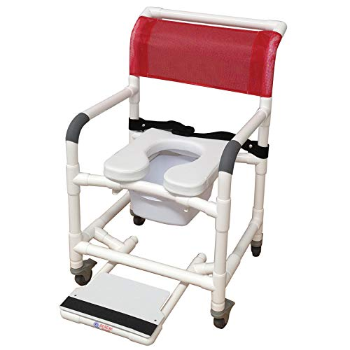 (MJM International 118-3TL-SSDE-BB-18-SQ-PAIL-SF Standard Shower Chair with Total Lock Casters Slide Out Footrest Safety Belt Commode Pail and Soft Seat, Royal Blue/Forest)