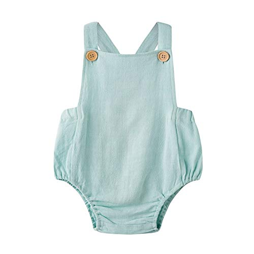 Simplee Kids Unisex Organic Linen Baby Romper Jumpsuit Solid Green Neutral Linen Onesies Baby boy 18-24 Months