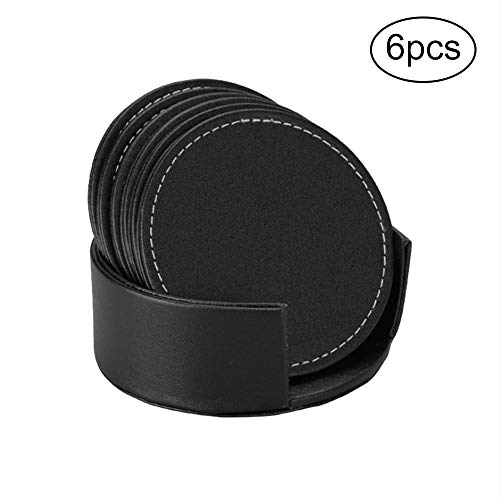 (PU Leather Drink Coasters Table Mats with Holder for Cup Glass Tableware, Round Coaster, Set of 6, Black)