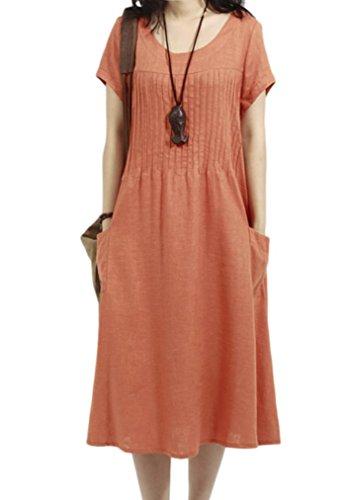 Gacchi Summer Cool Dress Pullover with Pintuck for Women (Medium, - Dress Sleeve Short Pintuck