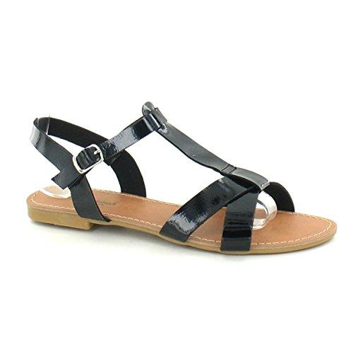 Savannah - Sandalias planas de tiras para mujer Marrón tostado