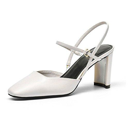 Creux DKFJKI Femmes pour white Sandales Bande Banlieue Chaussures Baotou Hauts élastique Talons zrq7OzxWwH