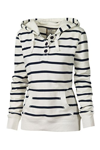 Elegante De Manga Larga Mujer Scoop Neck Stripes Button Up Sudadera Con Capucha Con Bolsillos White