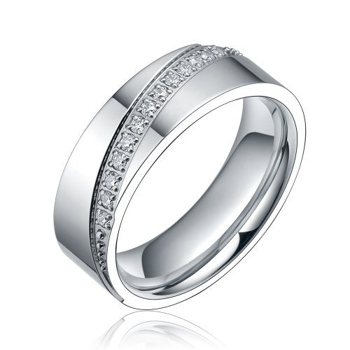 Polished Silver 8mm Eternity Shiny Cz Rhinestone Round Inlay Titanium Flat Ring for Couples Mens Womens Comfort Fit (10)