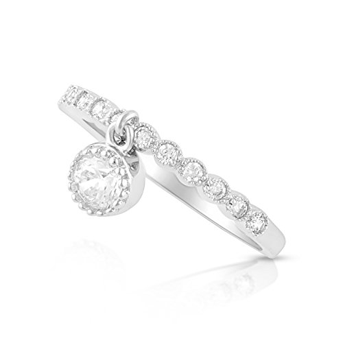 Sterling Silver Thin Stackable Dangling Charm Cz Ring - Size -