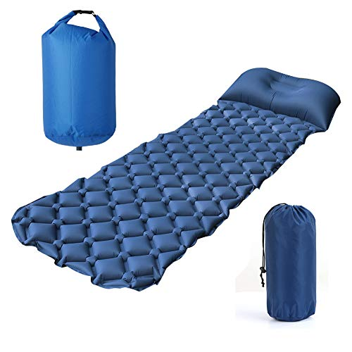 Elgary Ultralight Sleeping Pad and Roll Top Air Pump Sack Bag, Inflatable Waterproof Leakproof Compact Air Camping Mat Suitable for Camping, Backpacking, Hiking, Sleeping Bag, Hammock ()