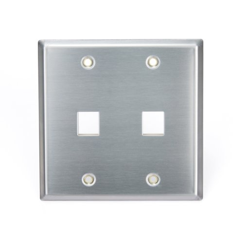 Stainless Steel 2 Center (Leviton 43080-2S2 QuickPort Wallplate, Dual Gang, 2-Port, Stainless Steel)