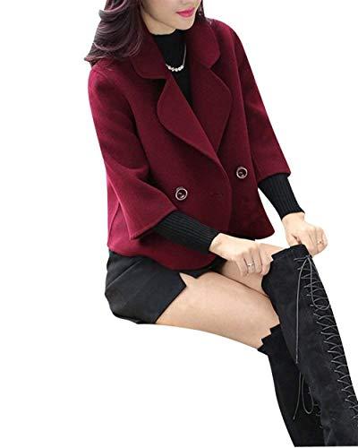 Longues Hiver Rouge Branch Manche Femme Targogo Courte Vtements Outerwear Manteau Manches Confortable Coat Elgante Uni Revers Button qqta4Owx