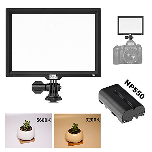 Photography Led Lighting,PIXEL P20 Bi-color Led Video Light with Colors Temperature 3200 5600K High Power Large Display for Canon,Nikon,Sony,Panasonic,Olympus DSLR Cameras. by PIXEL