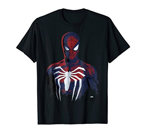 Marvel's Spider-Man Game Grunge Portrait Graphic T-Shirt ()