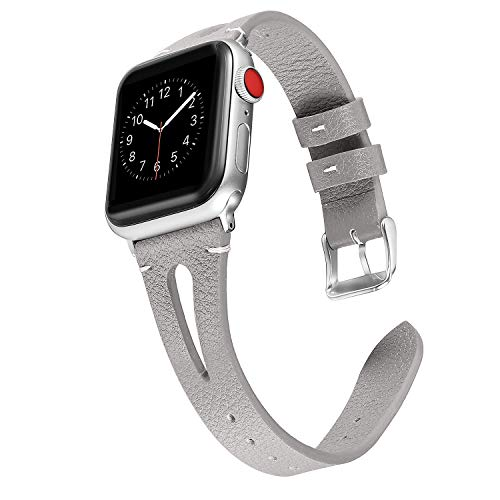 (Secbolt Leather Bands Compatible with Apple Watch Band 38mm 40mm iwatch Series 4 3 2 1, Slim Strap with Breathable Hole Replacement Wristband Women, Grey)