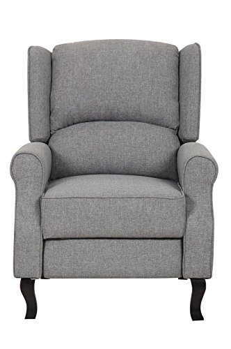 Gray Contemporary Fabric Recliner Sofa