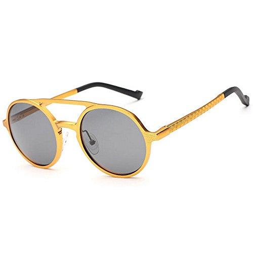 Color Black Frame Yxsd Oro Sun Round Unisex Gafas 5 Gafas Metal de Sol polarizadas Classic Colors Retro H8qZ6wHx