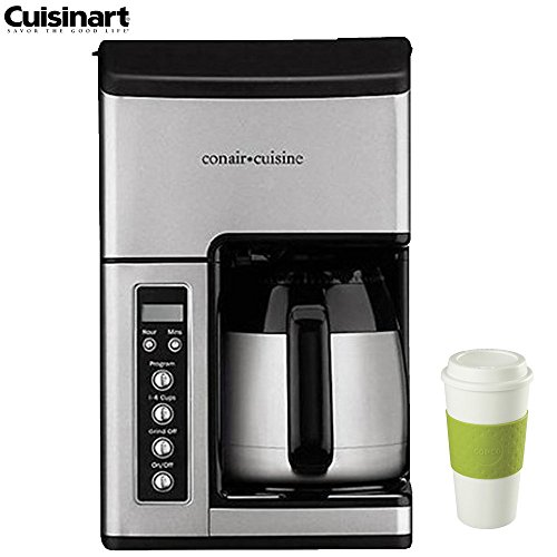 Cuisinart CC-10FR Grind & Brew 10-Cup Coffeemaker (Certified Refurbished) with 16-Ounce Capacity Acadia Reusable To Go Mug - Green