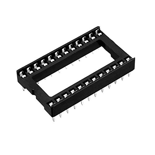 uxcell 25pcs 2.54mm Pitch 15.24mm Row Pitch 2 Row 24 Flat Pins Soldering DIP IC Chip Socket Adaptor